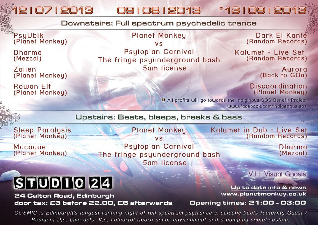 Cosmic flyer back - July/August/September 2013
