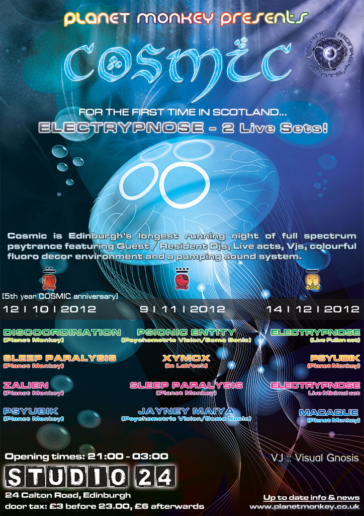 Cosmic flyer poster - October/November/December 2012