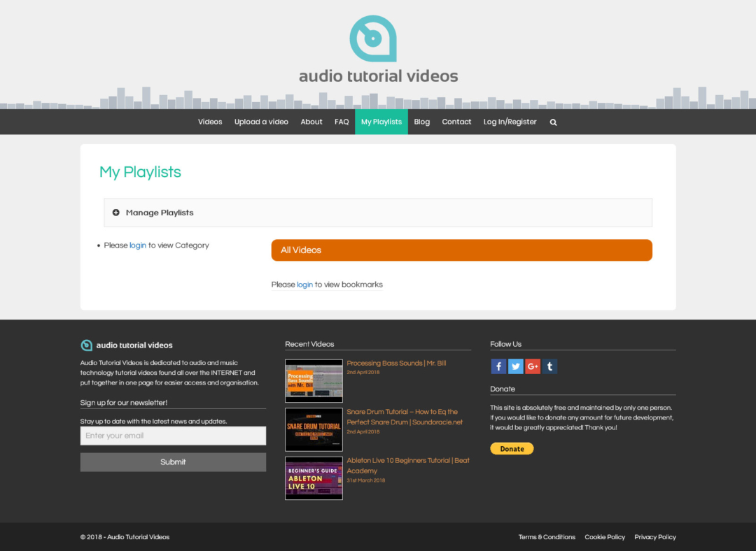 Audio Tutorial Videos - Playlists page