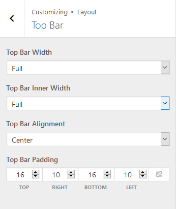 Top bar layout options