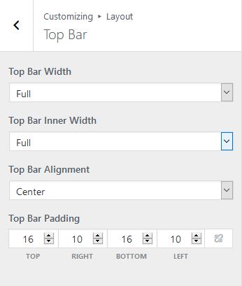 Top bar layout options