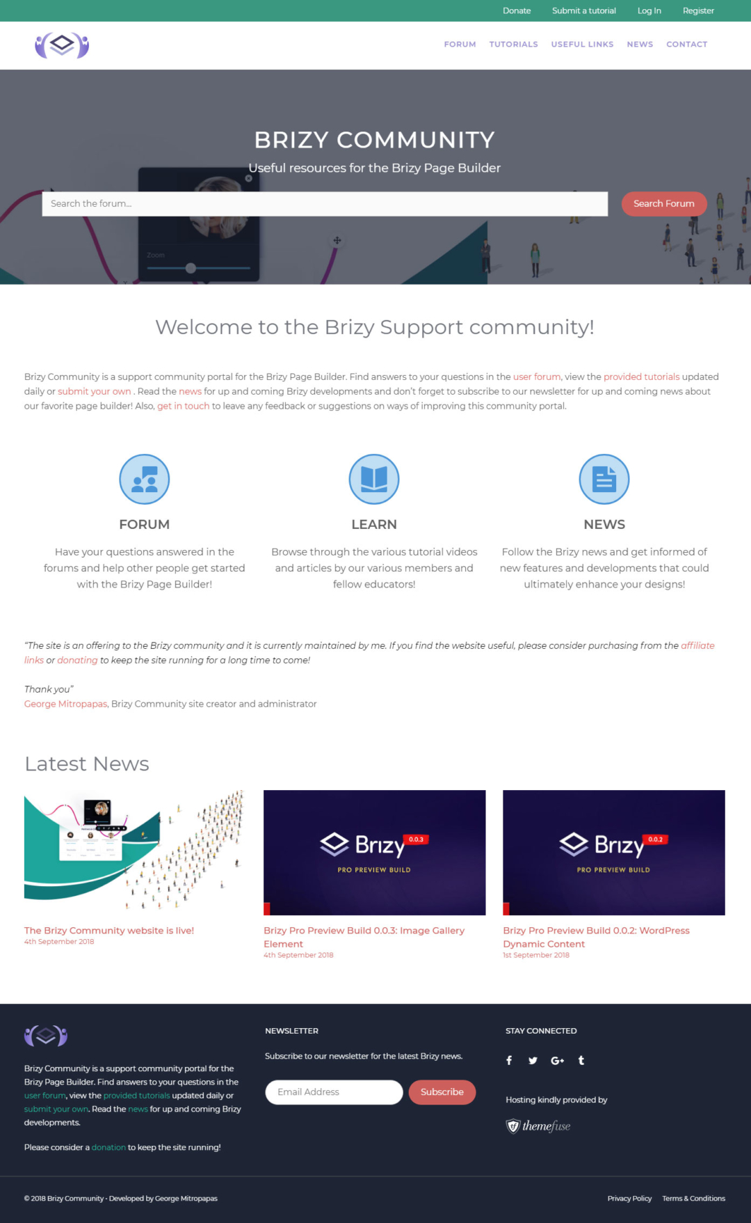 Brizy Community homepage